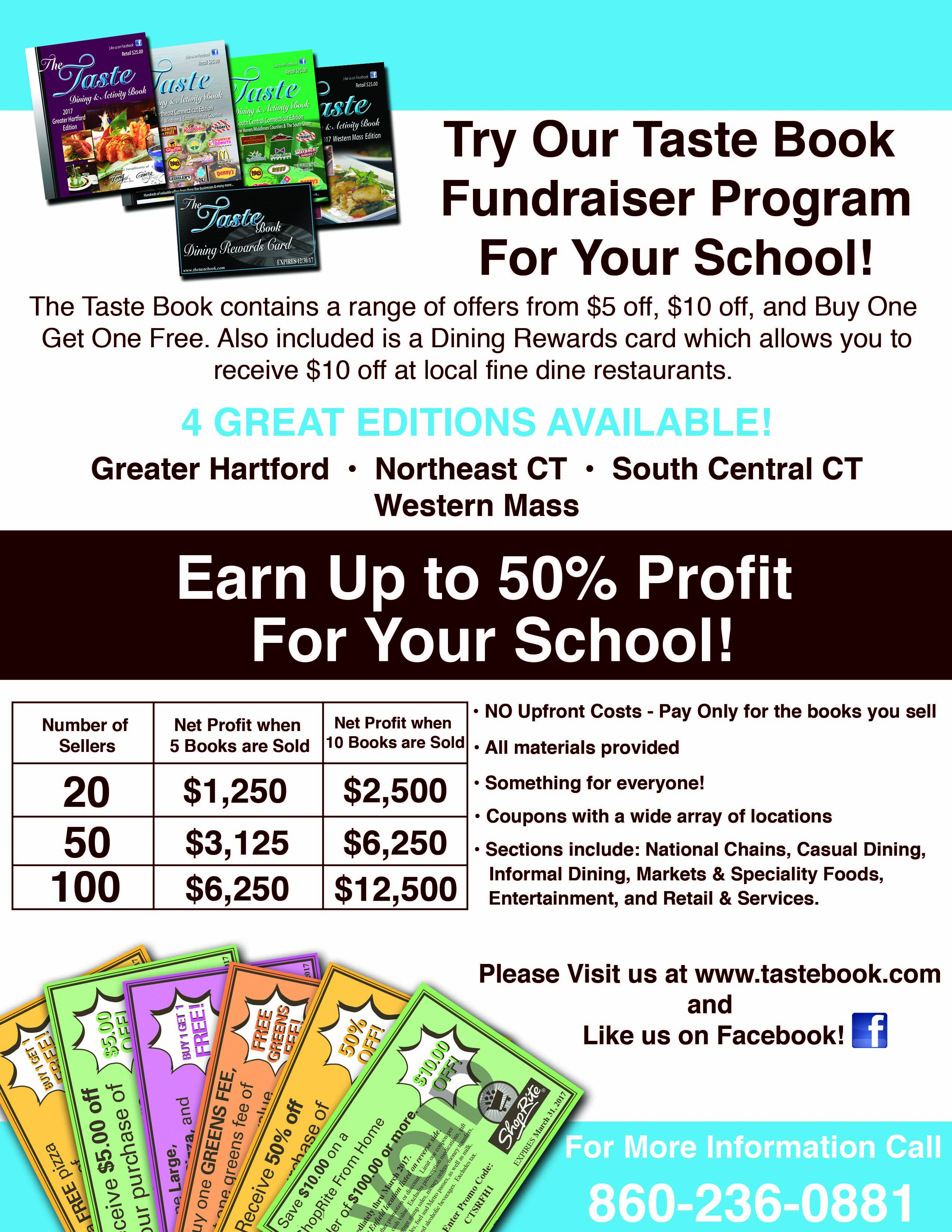 fundraisers the taste book 2017 fundraising flyer school